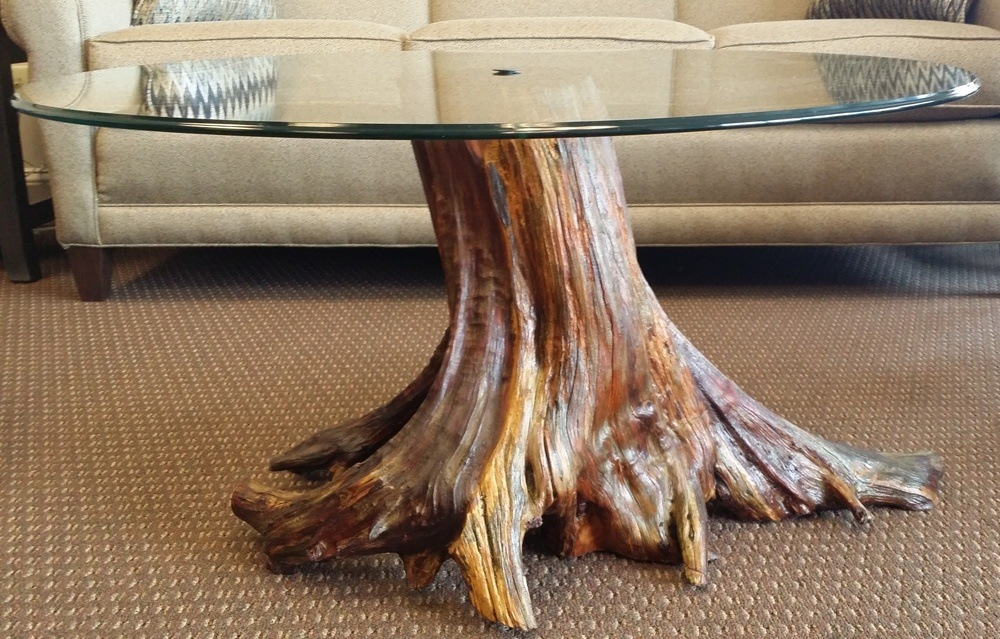 Solid Tree Trunk Glass Coffee Table