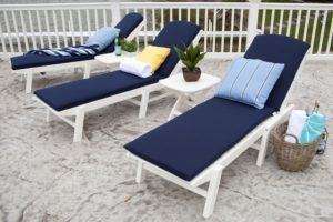White Wooden Chaise Lounge Chairs With Cushions