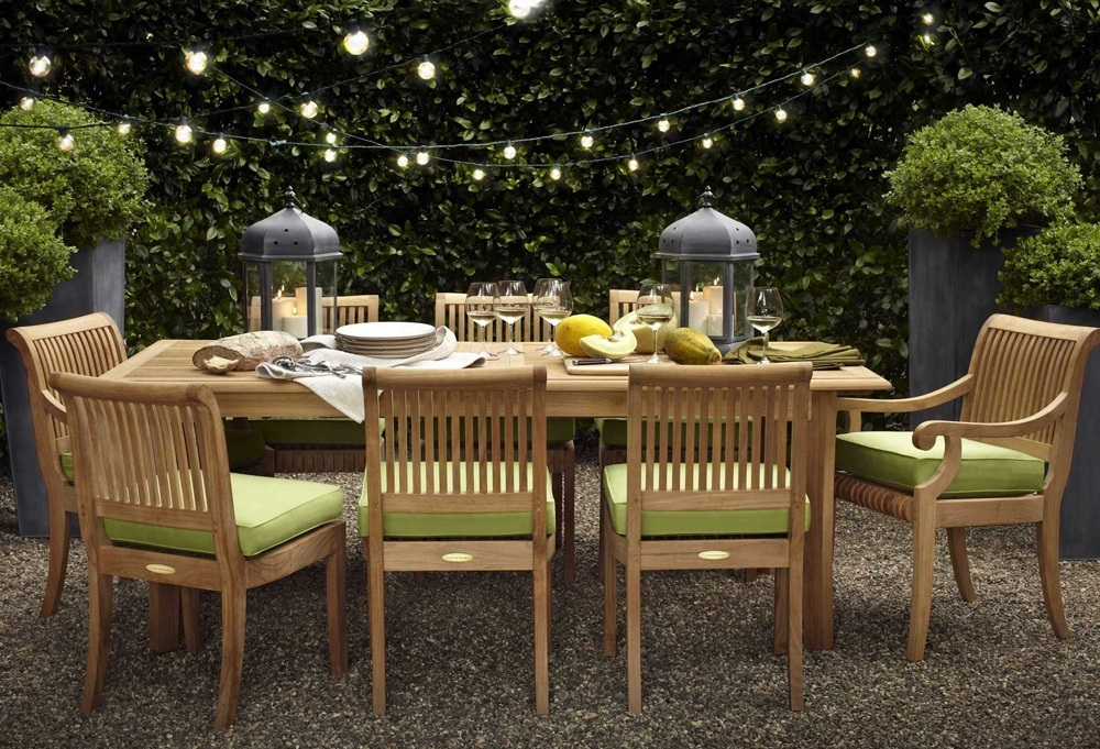 White Wood Outdoor Dining Table