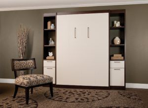 Brown And White Stained Wooden Murphy Bed With Shelves