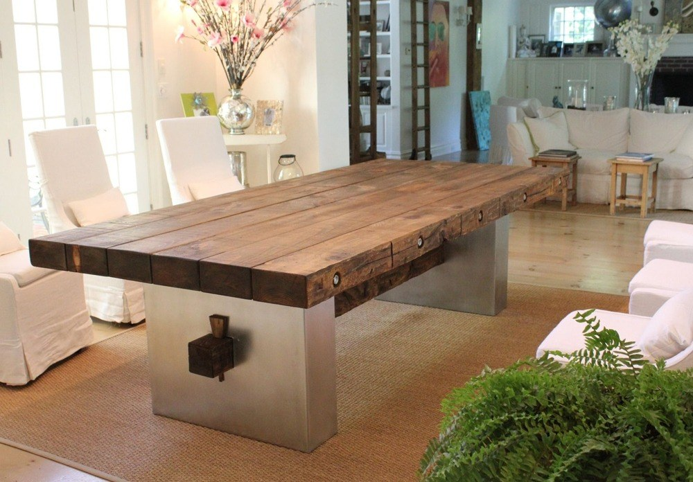 Reclaimed Wood Top Dining Table