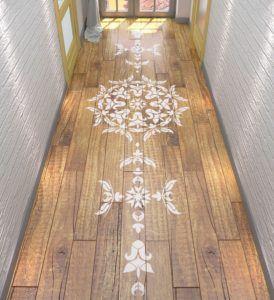 Home Wood Flooring With Symmetric Mandala Stencil