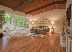 Large Living Room With Contemporary Engineered Wood Floor