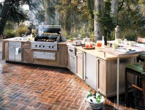 Modular Outdoor Wood Kitchen Unit Set