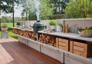Outdoor Summer Wood Kitchen Cabinets