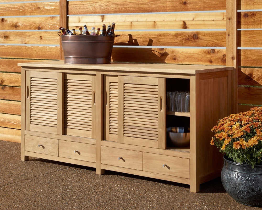 Outdoor Wood Kitchen Storage Cabinet