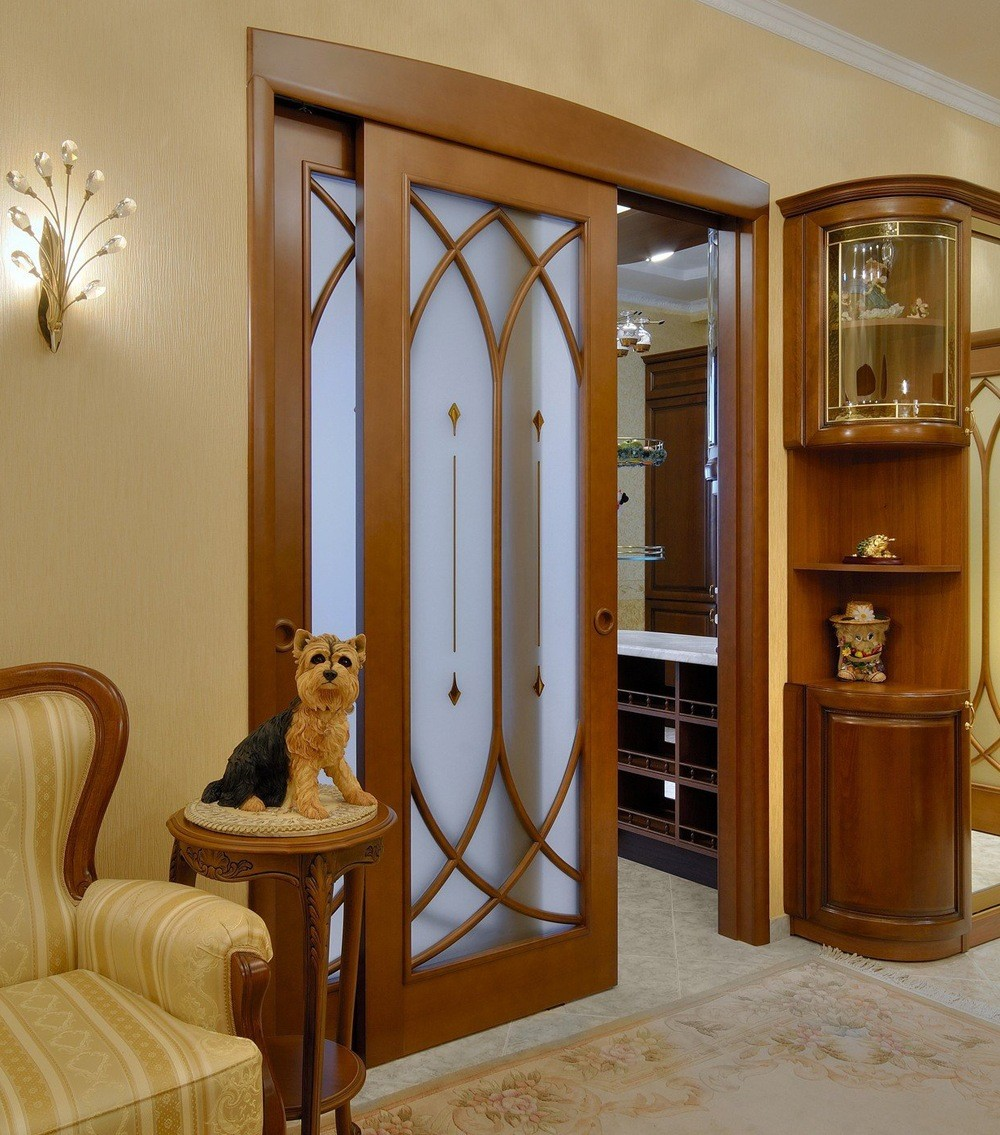 Wood and Glass Sliding Doors