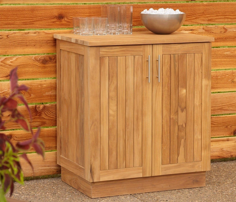 33 Most Popular Outdoor Kitchen Ideas Design Make Your: Weatherproof Storage Wood Oak Cabinet