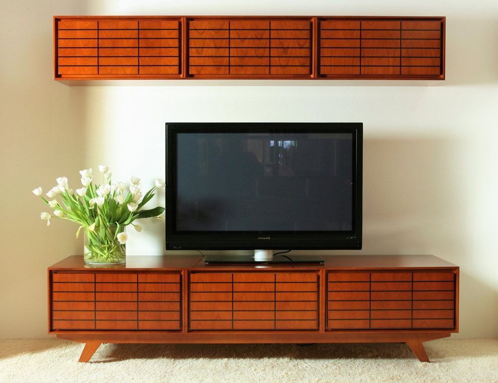 Place cherry wood TV credenza in your dining room and you'll have a great side buffet.