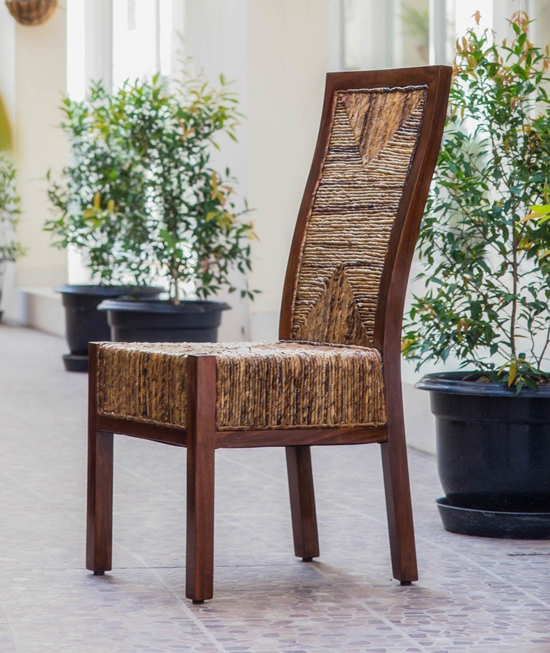 Dark Rattan Dining Chairs