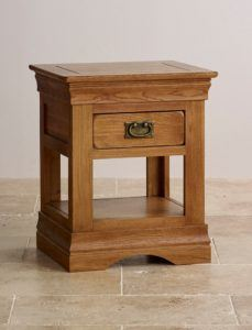 French Farmhouse Rustic Solid Oak Side Table