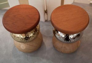 Pebble Stool Sidetable With Wood And Mirrored Accents