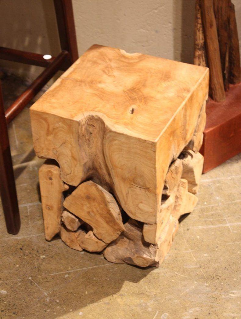 The popular variant is using teak root block in making creative outdoor teak coffee table etc.
