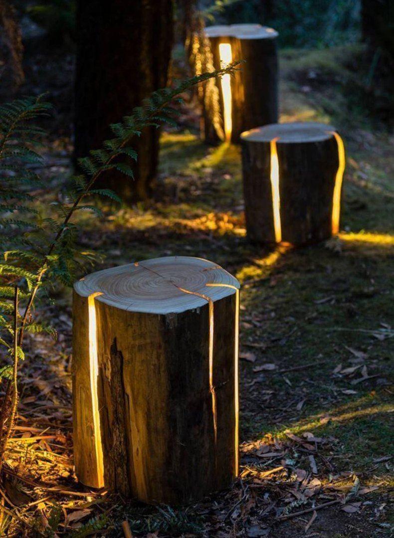 Rustic Log Lamps