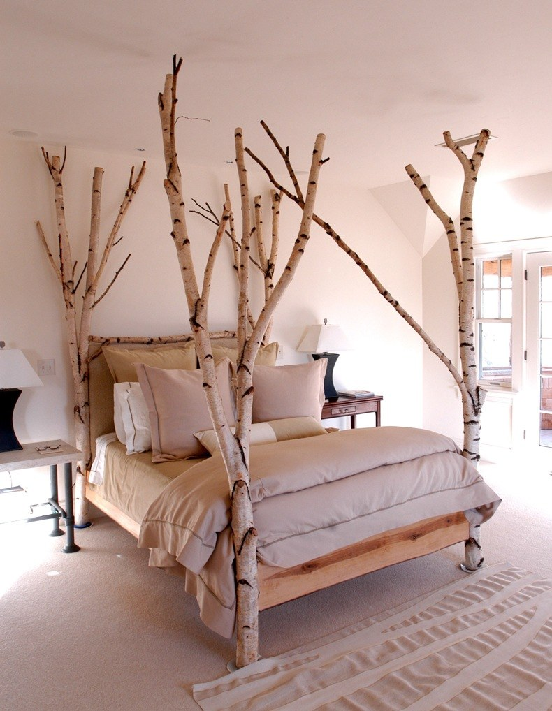 To make unique wood headboards place three other logs horizontally and attach them to the support logs with screws or nails.