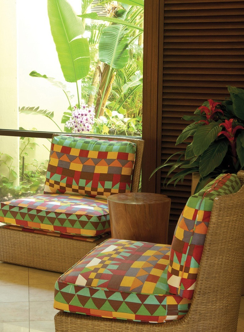 Balcony Chairs and Tree Trunk Coffee Table