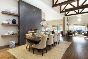 Black Oak Dining Table With Light Modern Chairs