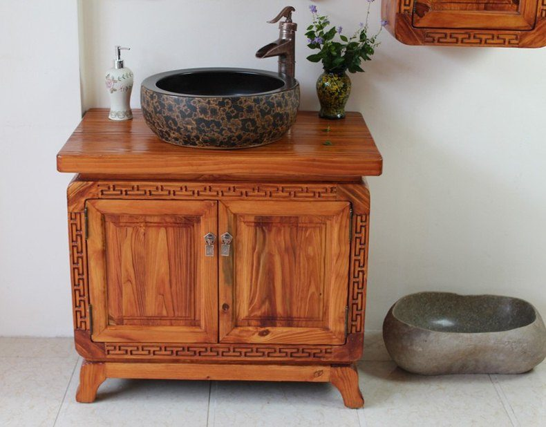 Rustic Wood Bathroom Cabinet
