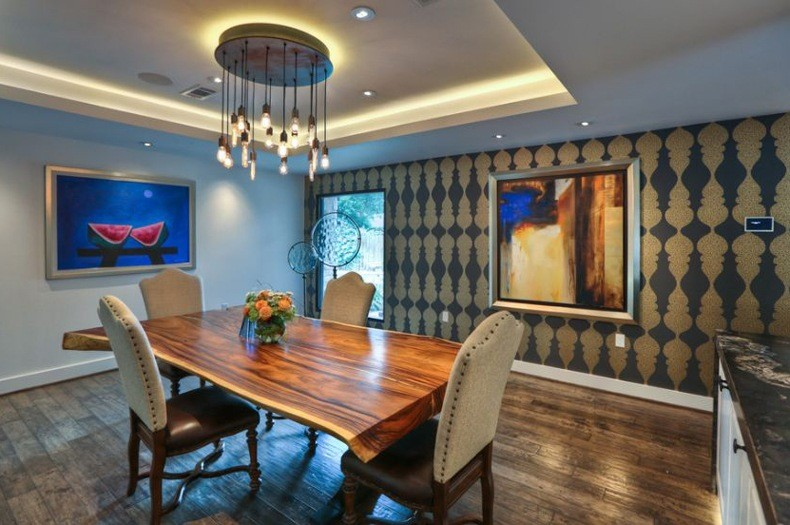 Dining Room With Live Edge Wood Table And Wallpaper Gold Accents