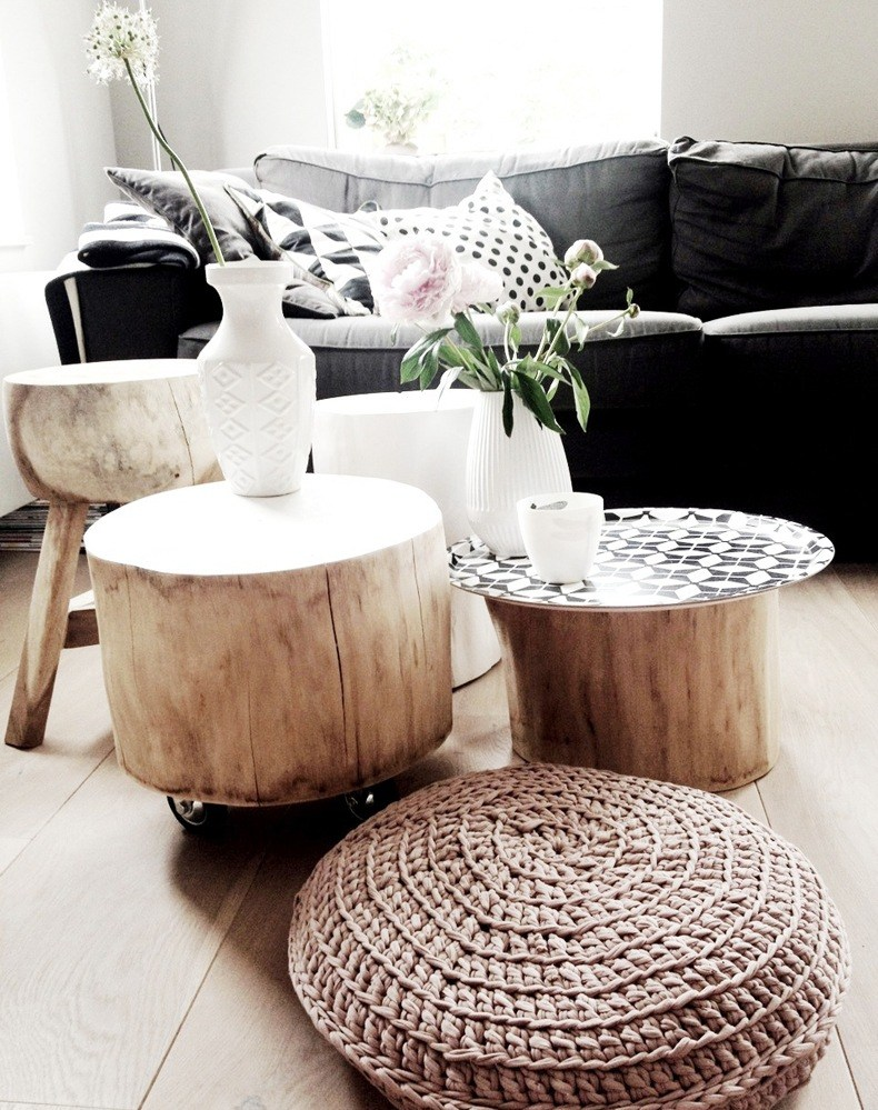 Log Coffee Table and End Tables