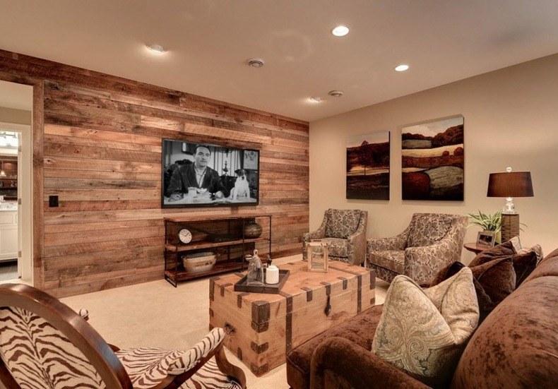 Natural Paneled Walls Living Room