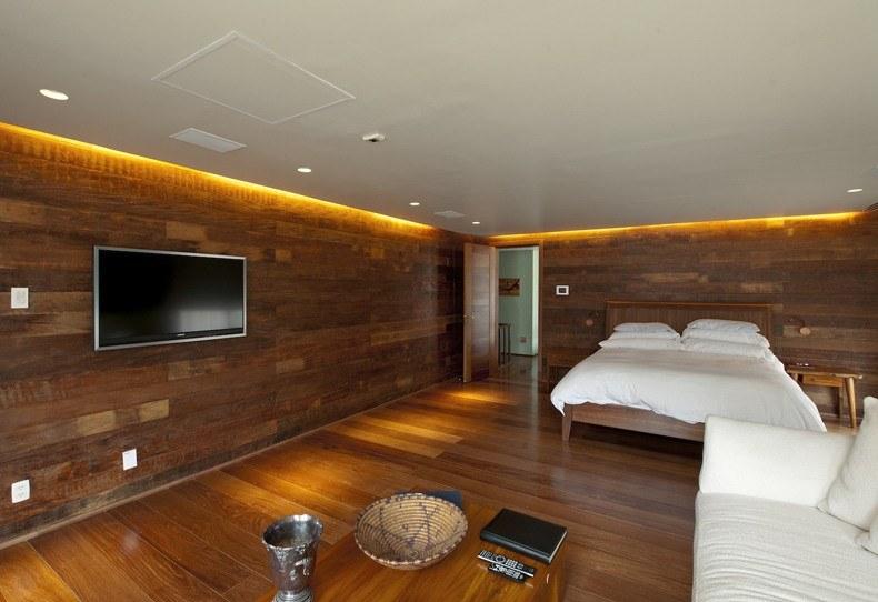 Brown Paneled Bedroom
