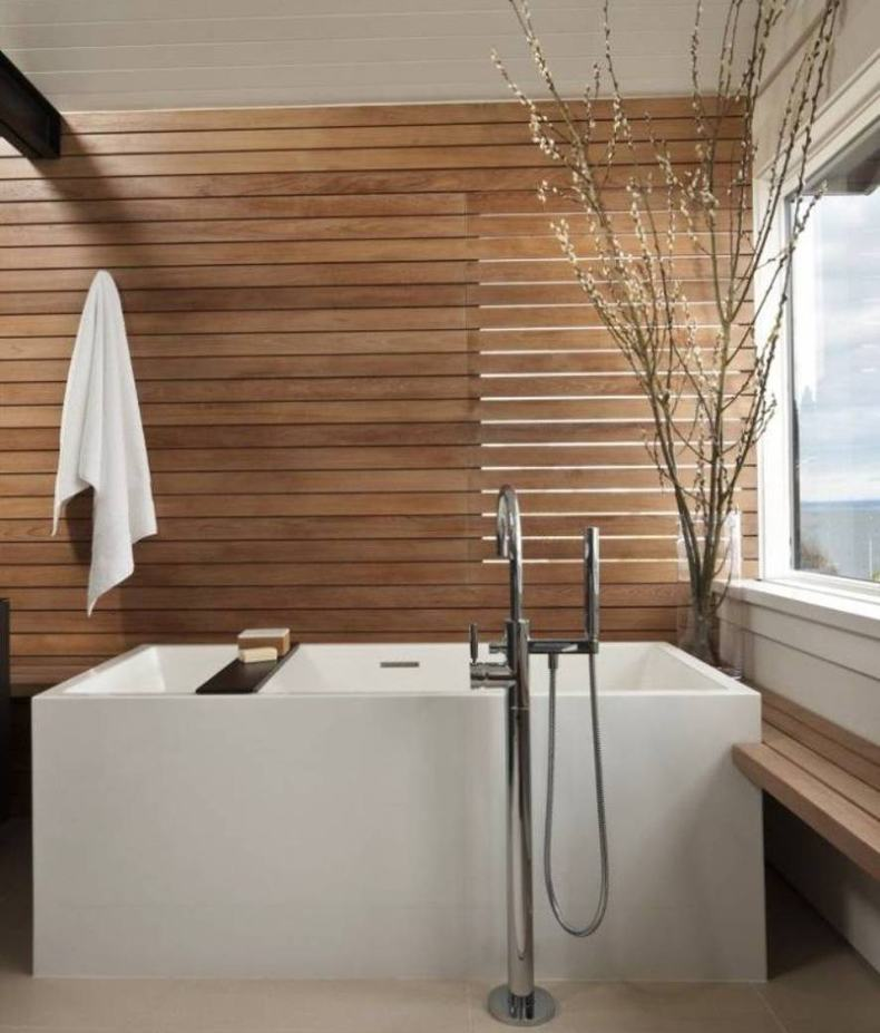 Wooden shower wall panels are effective and simple way to add wood in the bathroom and make it more warm and beautiful.