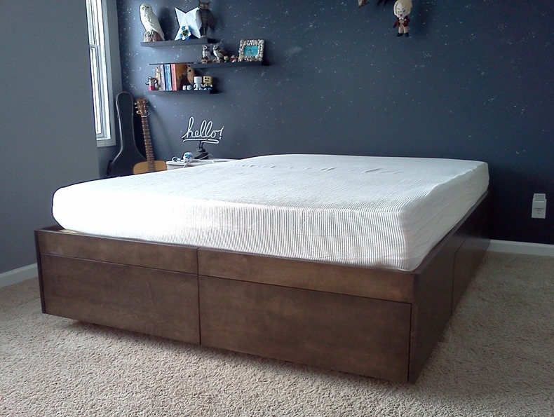 Solid Wood King Platform Bed With Storage