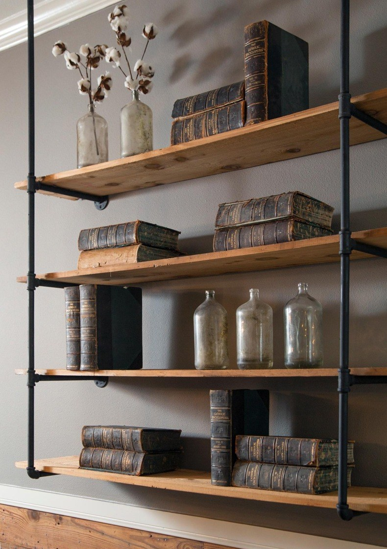 Industrial Wooden Wall Shelves
