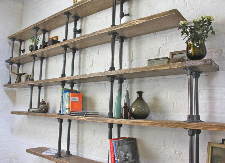 Floating Oak Industrial Unit Shelves