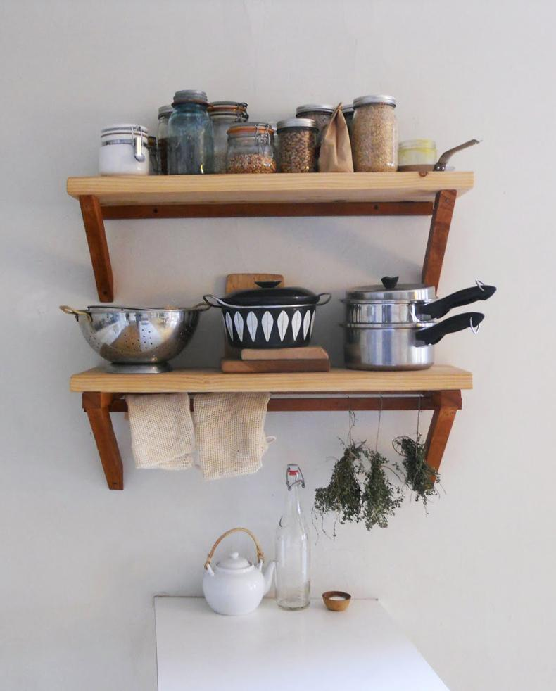 Rustic Wood Kitchen Shelves