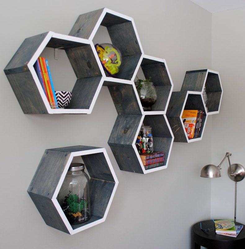 Living Room Honeycomb Storage Shelves