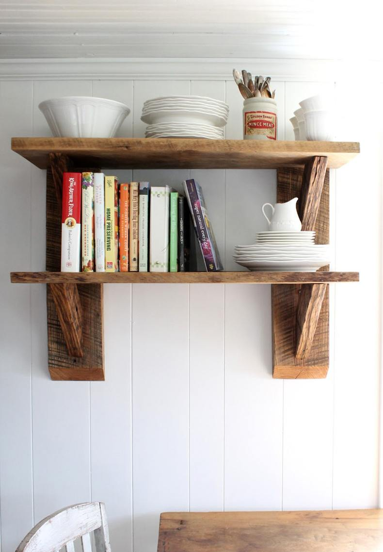 Reclaimed wood kitchen shelves look really amazing if you do know what you are looking for in individual design.