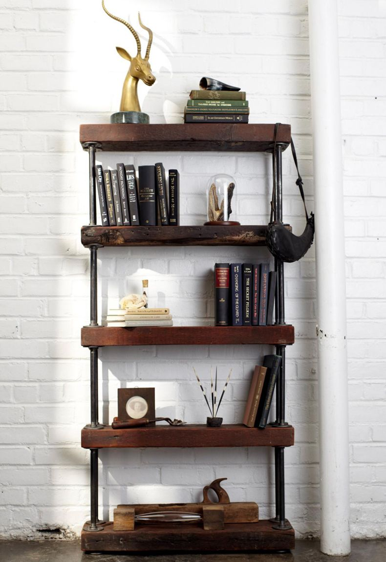 Metal and Reclaimed Wood Bookcase
