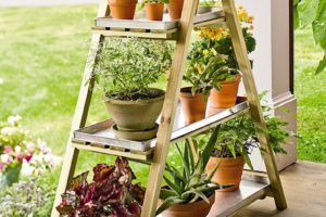 Wood Mounted Plant Stand