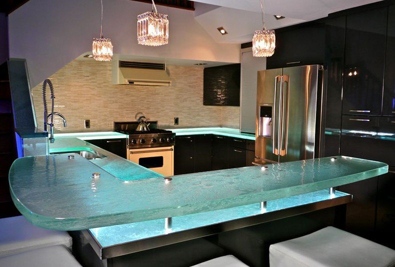 Bio glass countertops from this material are much durable.