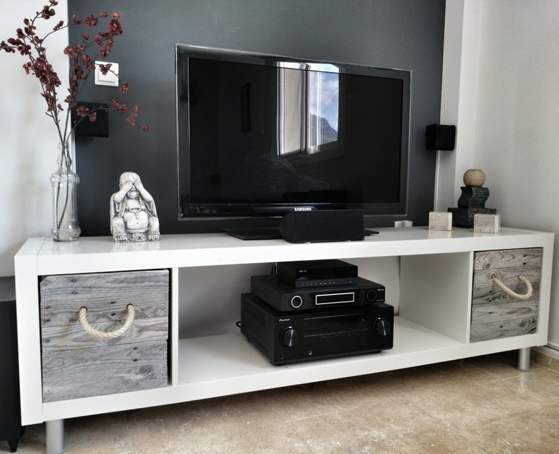 Large White TV Unit