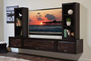 Large Dark Brown TV Unit