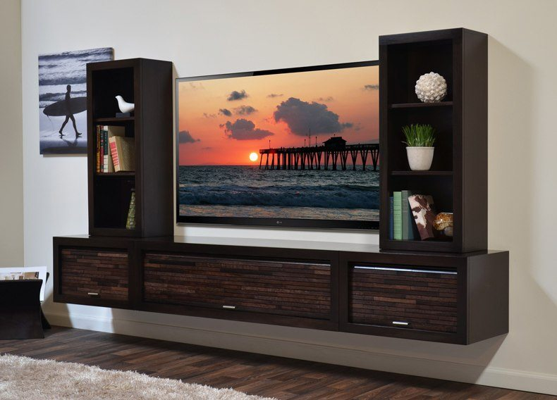One of the most practical options is using modern TV cabinet designs as an interesting dark brown TV unit.