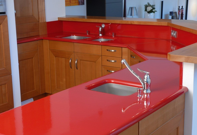 Red Lava Stone Kitchen Countertops