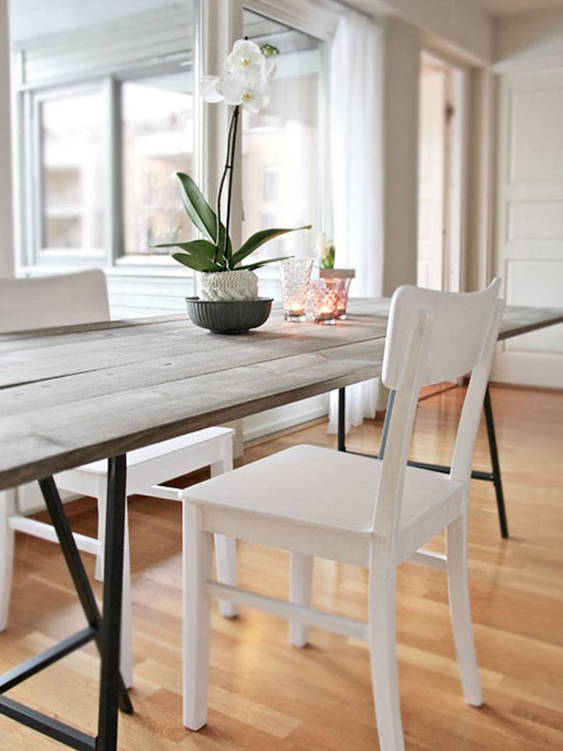 For realizing this narrow rustic dining table ideas you will need to take a table base.