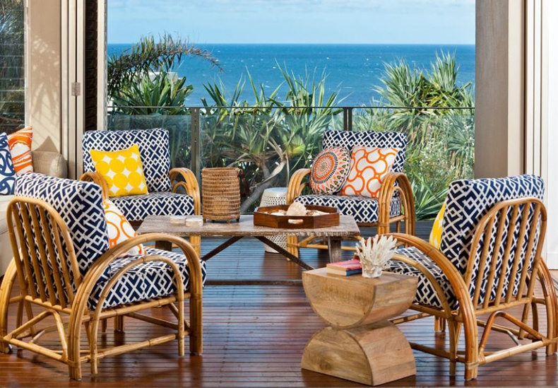 Bamboo Furniture Chairs With Blue Accents For Porch Balcony