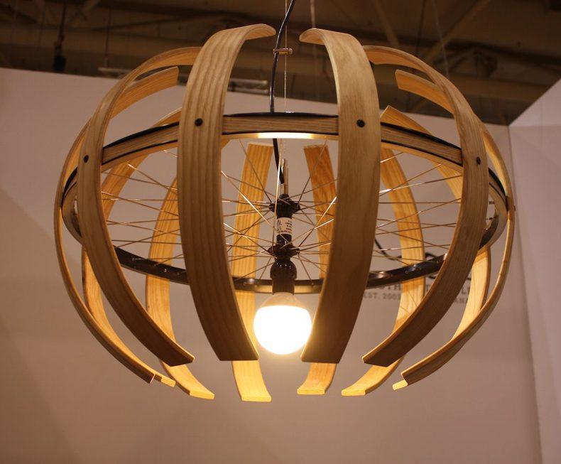 Wood Sphere Pendant Light