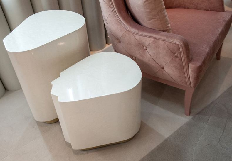 Cerne White Side Table With A Small Gold Base