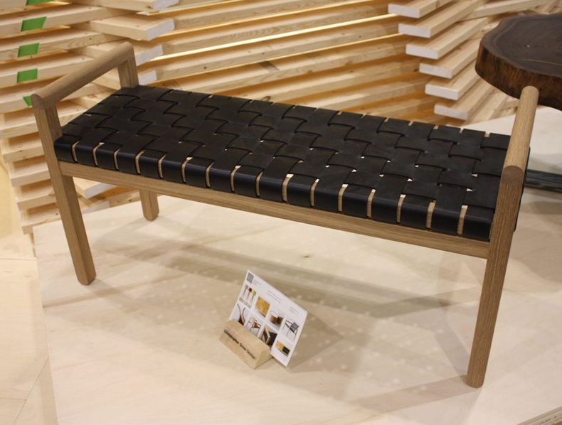 The construction of unique wood bench frame is angular and geometric.
