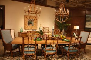 Large Rectangular Dining Table From Bamboo Chandelier And Chairs From Bamboo