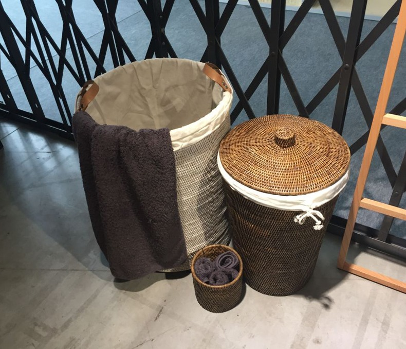 Grey Rattan Laundry Storage