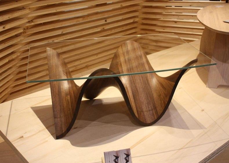 Glass Top Walnut Table