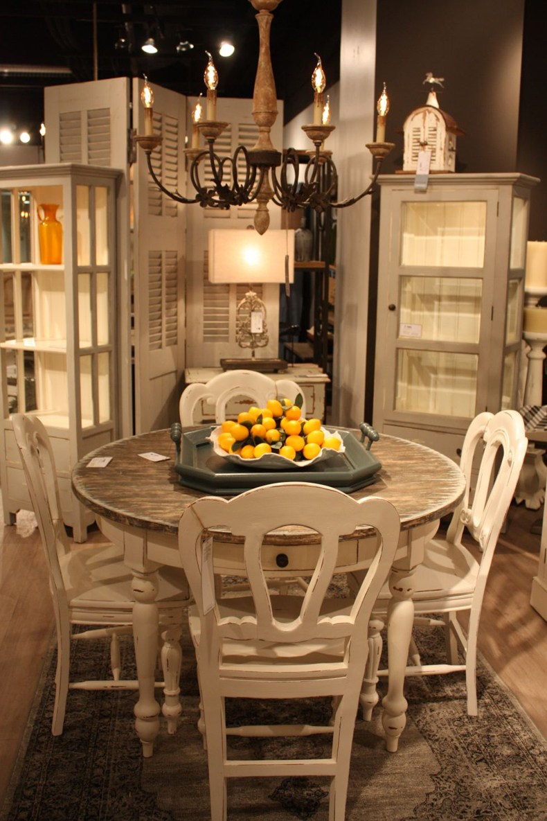 Distressed Round Table and Chairs