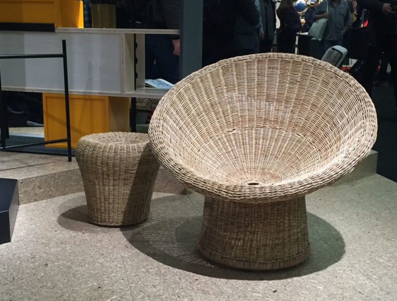 Round Rattan Chair And Stool